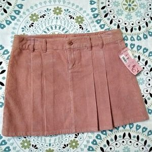 Rubbish pink pleated Corduroy Skirt